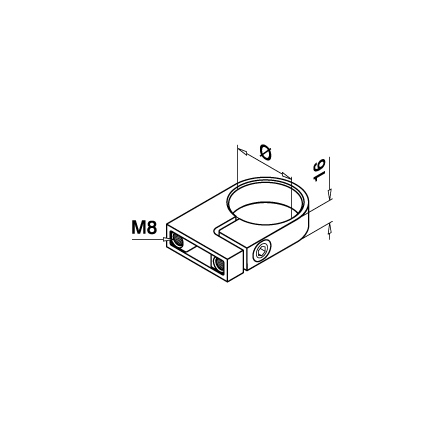 Wall Bracket OD 42.4 mm | Product technical drawing