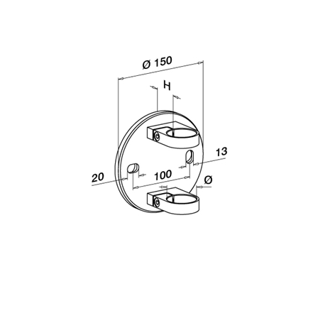 Wall Bracket OD 42.4 mm H=45 mm D=150 mm | Product technical drawing