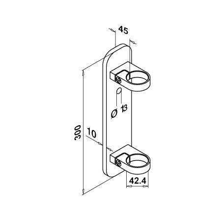 Wall Bracket OD 42.4 mm H=45 mm L=300 mm W=70 mm | Product technical drawing