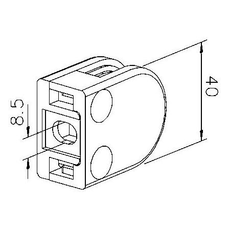 Glass Clamp 40x50 mm Flat 6/8/8.76 mm (M8) | Product technical drawing