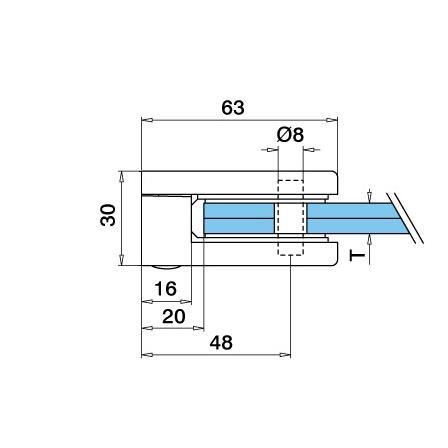 Glass Clamp 45x63 mm Flat 8/8.76/10 mm (M8)   Product technical drawing