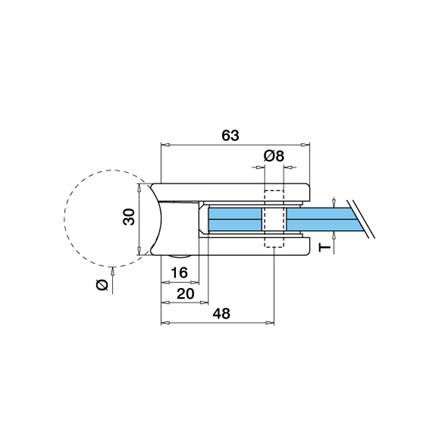 Lasikiinnike 45x63 mm Ø 42.4 mm M8 lasi 8/8.76/10 mm | Tuotteen tekninen kuva