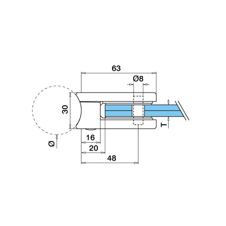 Glass Clamp 45x63 mm OD 42.4 mm 8/8.76/10 mm (M8) | Product technical drawing