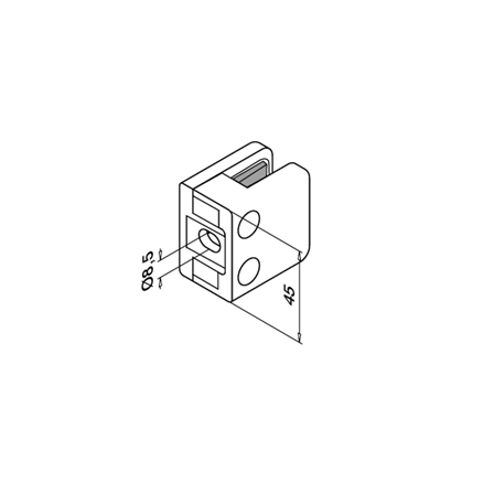 Glass Clamp 45x45 mm Flat 6/8/8.76 mm (M8) | Product technical drawing