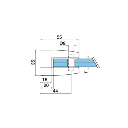 Glass Clamp 55x55 Flat 8/8.76/10 mm, Securing Plate | Product technical drawing