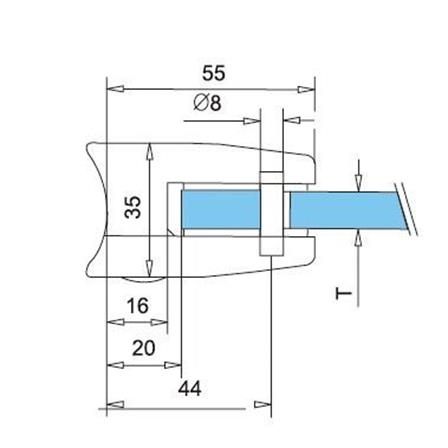 Glass Clamp 55x55 mm OD 42.4 mm 8.76/10/12 mm (M8) Securing Plate  | Product technical drawing