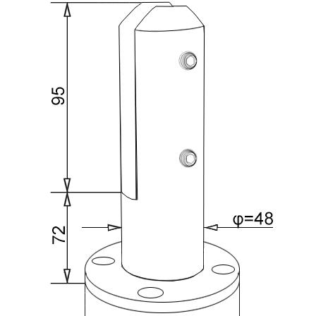 Glass Spigot 12.76/16.76/17.52 mm   Product technical drawing
