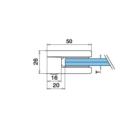 Glass Clamp 40x50 mm Flat 6/8/8.76 mm (M8)   Product technical drawing