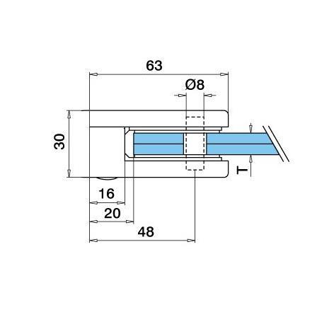 Zn Lasikiinnike 45x63 mm tasainen M8 lasi 8/8.76/10 mm | Tuotteen tekninen kuva