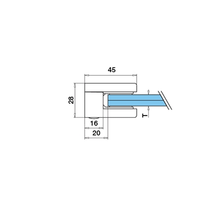 Glass Clamp 45x45 Flat 6/8/8.76 mm | Product technical drawing