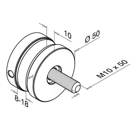 Glass Fixpoint Flat D=50 mm | Product technical drawing