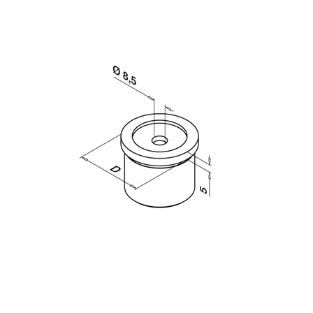 Saddle 42.4x2.0 mm Flat | Product technical drawing