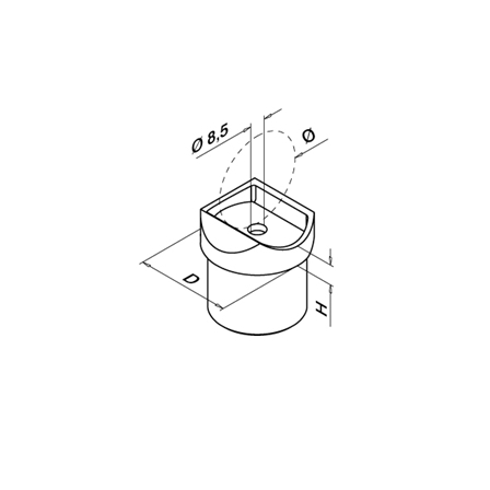 Tube Support Round Top OD 42.4x2.0 mm   Product technical drawing