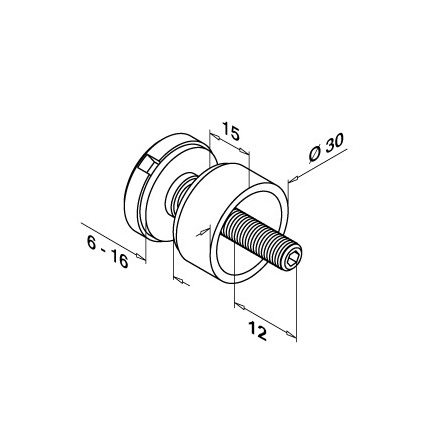 Glass Fixpoint D=30 mm Flat (M8), 15 mm Disc | Product technical drawing