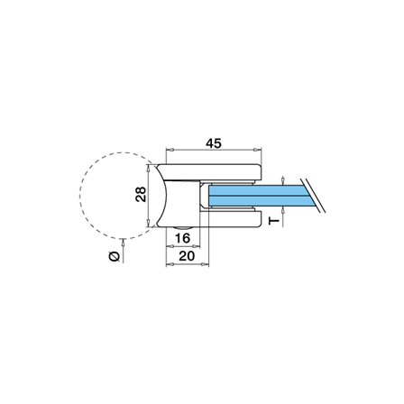 Glass Clamp 45x45 mm OD 42.4 mm 6/8/8.76 mm (M8)   Product technical drawing