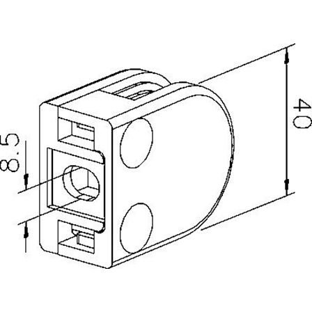 Держатель стекла 6/8/8,76 мм 40x50 мм для крепления к плоскоcти оцинкованный | Чертеж продукта