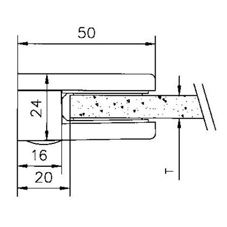 Glass Clamp 40x50 Flat 6,8,8.76 mm | Product technical drawing