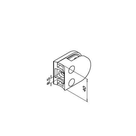Glass Clamp 40x50 mm OD 42.4 mm 6/8/8.76 mm (M8)   Product technical drawing