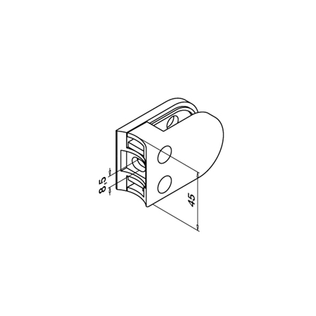 Glass Clamp 45x63 OD 42.4 mm 8,8.76,10 mm   Product technical drawing