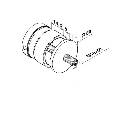 Glass Fixpoint D=60 mm Flat (M10), 20 mm Threaded Disc   Product technical drawing
