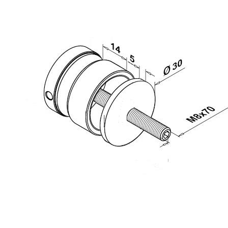 Glass Fixpoint D=30 mm Flat (M8), 20 mm Threaded Disc | Product technical drawing
