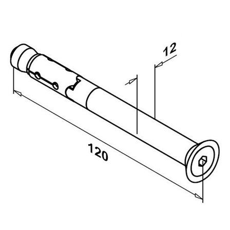 Expansion screw M8 L=120 mm   Product technical drawing
