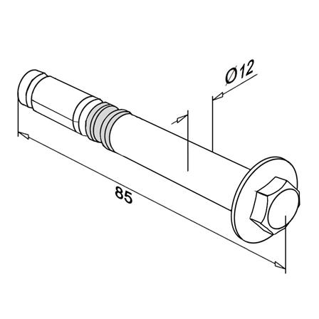 Expansion screw hexagon M8 L=85 mm | Product technical drawing