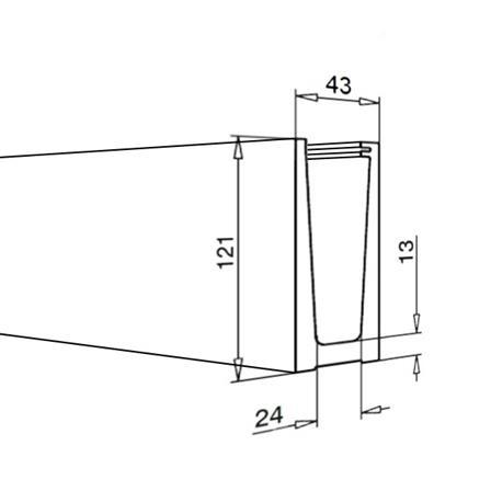 Glass Railing Floor Slim U-Profile L=2.5 m | Product technical drawing