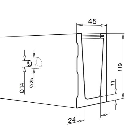Alu Wall Profil Satin Finish L=2.5 m | Product technical drawing