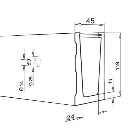 Glass Railing Wall Slim U-Profile L=5.0 m | Product technical drawing