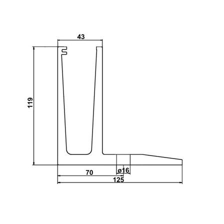 Glass Railing Floor Slim F-Profile Anodized L=5.0 m | Product technical drawing
