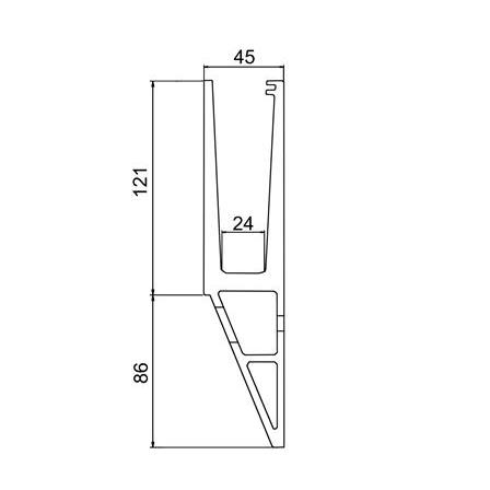 Glass Railing Wall Slim Y-Profile L=5.0 m | Product technical drawing