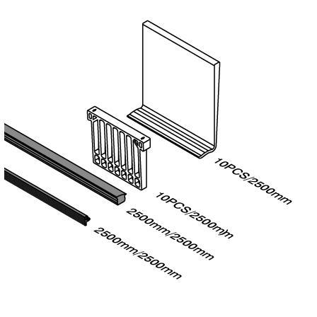 Резина для стекла 16,76 мм Алюминиевый профиль | Чертеж продукта