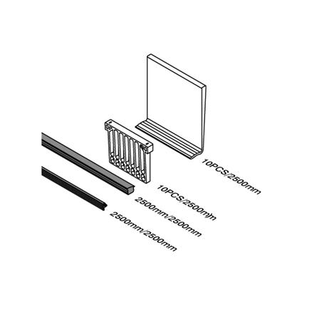 Plastikkiilud ja kummitihendid 13.52 mm klaaspiirde profiilile - 2.5 m | Toote tehniline joonis