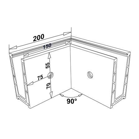 Alu Wall Profil Corner External Satin Finish | Product technical drawing