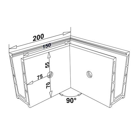 Glass Railing Wall Slim U-Profile Anodized 90° Outer Corner   Product technical drawing