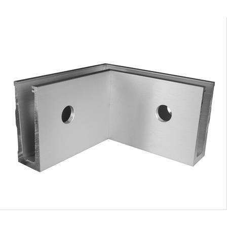 Glass Railing Wall Slim U-Profile Anodized 90° Inner Corner   Product photo