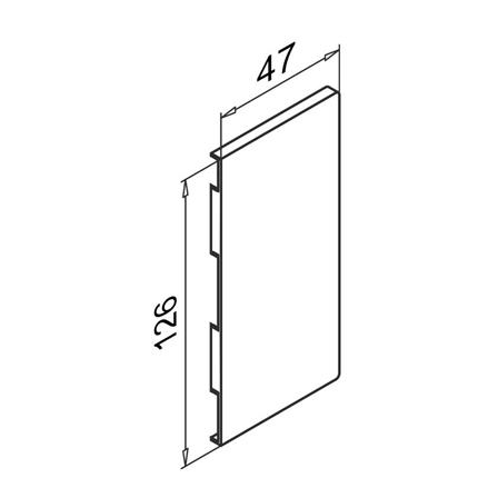 Glass Railing Wall Slim U-Profile Anodized End Cap Left | Product technical drawing