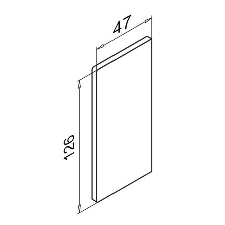 Glass Railing Wall Slim U-Profile Anodized End Cap Right   Product technical drawing