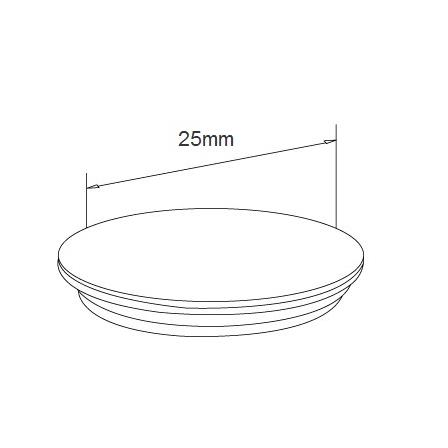 Glass Railing Wall Slim Profile Anodized Hole Cap | Product technical drawing