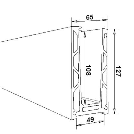 Glass Railing Floor Profile Anodized L=2.5 m | Product technical drawing