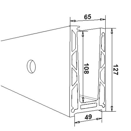 Glass Railing Wall Profile Anodized L=2.5 m | Product technical drawing