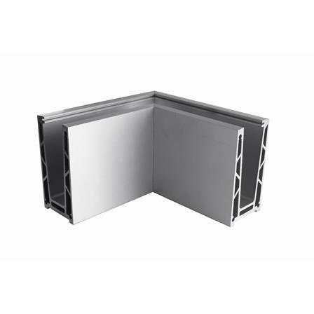 Glass Railing Floor Profile Anodized 90° Outer Corner | Tuotekuva