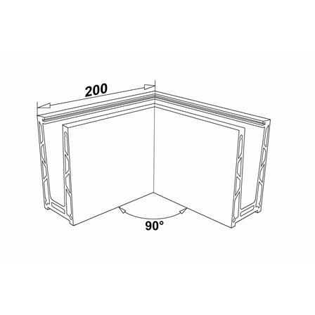 Glass Railing Floor Profile Anodized 90° Outer Corner | Tuotteen tekninen kuva