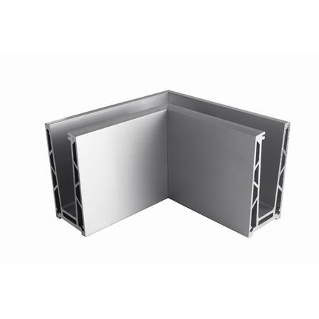 Glass Railing Floor Profile Anodized 90° Inner Corner | Product photo