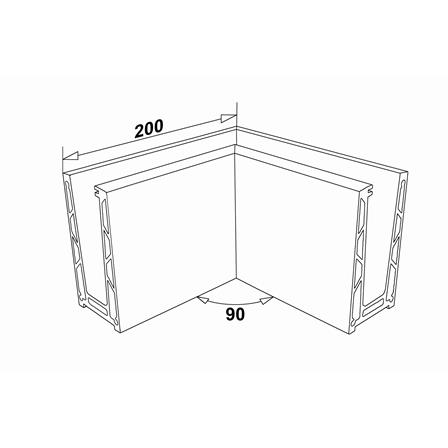 Glass Railing Floor Profile Anodized 90° Inner Corner | Product technical drawing