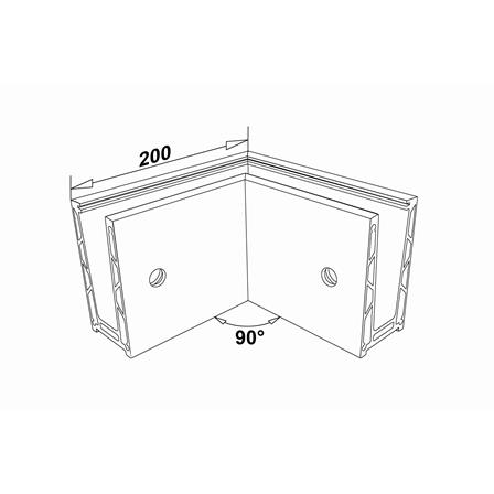 Glass Railing Wall Profile Anodized 90° Outer Corner | Product technical drawing