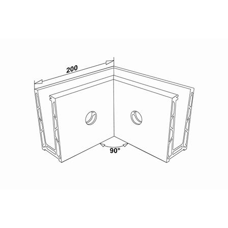 Glass Railing Wall Profile Anodized 90° Inner Corner   Product technical drawing