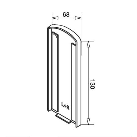 Glass Railing Wall Profile Anodized End Cap | Product technical drawing