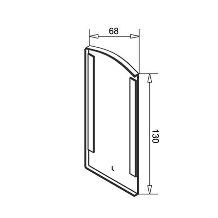 Glass Railing Wall Profile Anodized End Cap Left    Product technical drawing